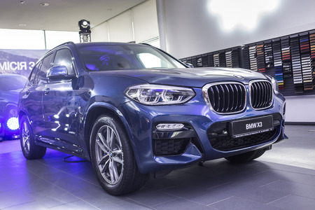 31 of March, 2018 - Vinnitsa, Ukraine. BMW X3 presentation in showroom Editorial