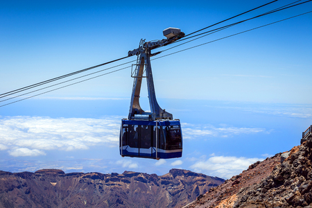 Cableway (funicular) on the national park volcano Teide, Tenerife, Canary island, Spain.