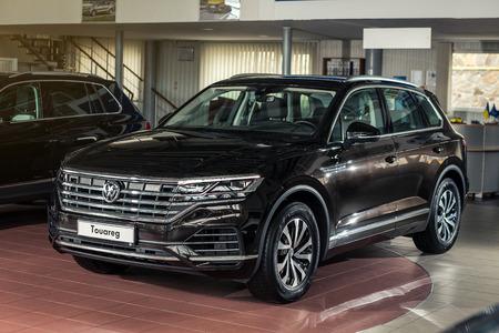 03 of October, 2018 - Vinnitsa, Ukraine. New Volkswagen Touareg  presentation in showroom - front view