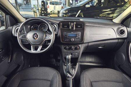 Vinnitsa, Ukraine - April 02, 2019. Renault Logan MCV - new model car presentation in showroom - steering wheel and dashboard view