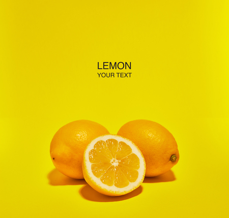 Creative layout made of lemon on yellow background. Copy space . Food concept. Banque d'images - 121323857