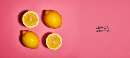 Creative layout made of lemon on pink background. Flat lay, top view, copy space . Food concept. 版權商用圖片