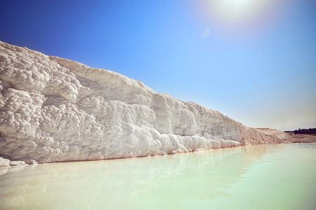Pamukkale - natural travertine pools and terraces . Cotton castle in southwestern Turkey, popular tourist destination