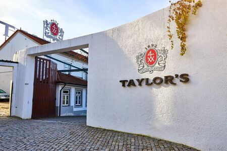 PORTO, PORTUGAL - December 10, 2018: Entrance to Taylors wine cellar museum