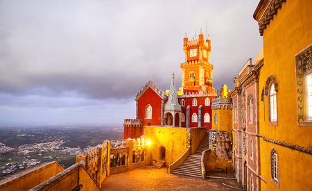 Pena Palace in Sintra, Lisbon, Portugal in the night lights. Famous landmark. Most beautiful castles in Europe