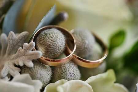 wedding rings lie on the bouquet