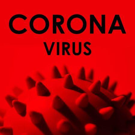 Inscription CORONAVIRUS on red background. World Health Organization WHO introduced new official name for virus 2020 disease named: COVID-19 SARS, Coronaviridae , SARS-CoV, SARSCoV , MERS-CoV