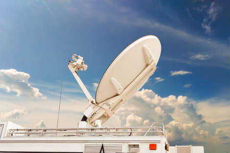 transmitter: Satellite dish on Car transmitter send a signal.