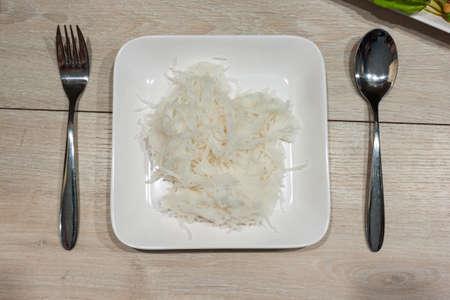 palatable: Thai vermicelli on a wood table. Stock Photo