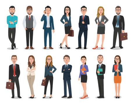 사무실에서 일하는 비즈니스 남성 및 비즈니스 여성 캐릭터 그룹