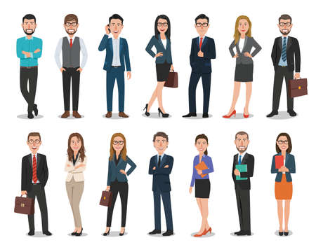 Group of business men and business women characters working in office