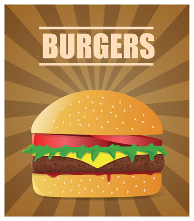 Fresh burger with tomatoes, lettuce, cheese, meat and ketchup