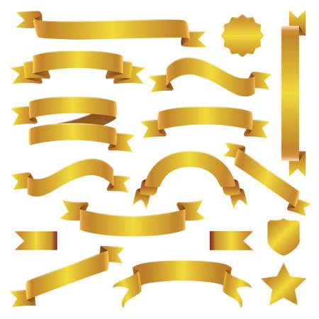 Conjunto de cintas y pancartas doradas
