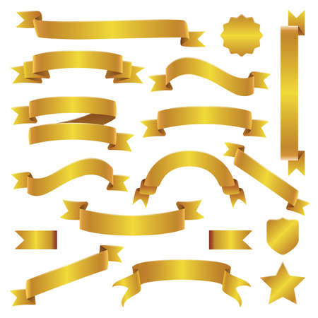 Zestaw złote wstążki i banery