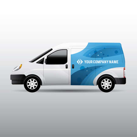 Advertisement or corporate identity design template on white van. For business, branding and advertising companies. 일러스트