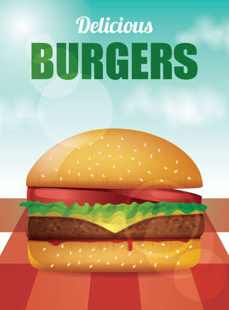 Delicious Burger with tomatoes, lettuce, cheese, meat and ketchup