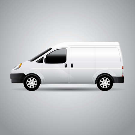 Realistic delivery van vector illustration. Perfect for applying advertising and company graphics (branding) Ilustração