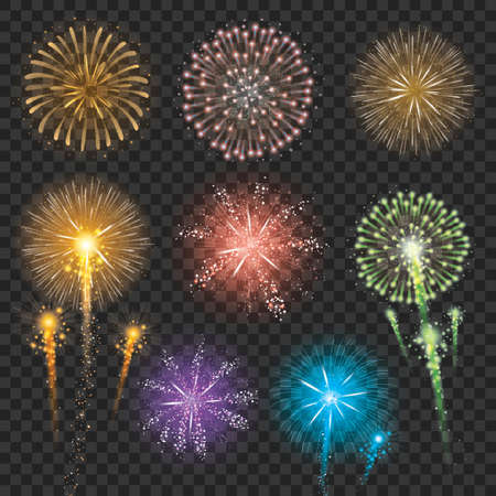 Ensemble d'illustrations de feu d'artifice