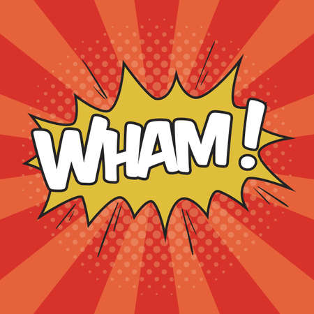 WHAM! Wording Sound Effect for Comic Speech Bubble Illustration