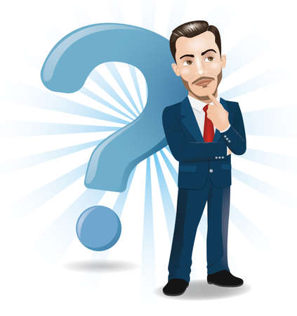 Businessman Thinking with Big Question Mark Background