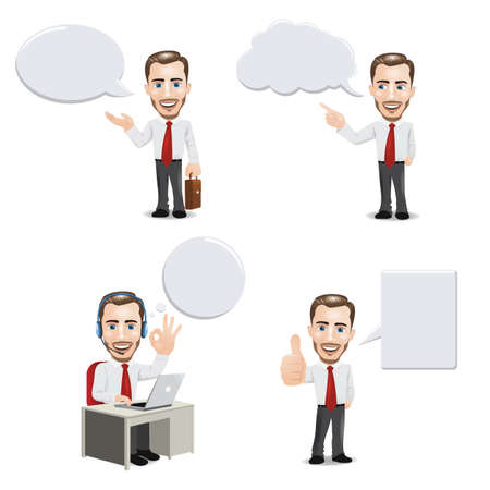 Businessman with Empty Speech Bubbles