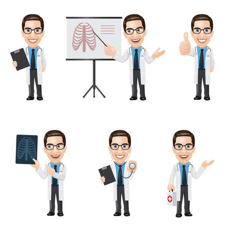 Set of Doctor Character in 6 Different Poses