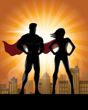 Superhero Couple Silhouette with City Skyline Background Standard-Bild - 122197851