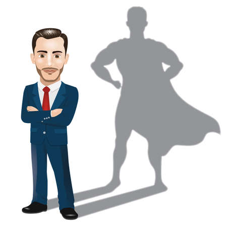 Homme d'affaires confiant debout avec ses bras croisés avec le concept d'ombre de super-héros Vecteurs