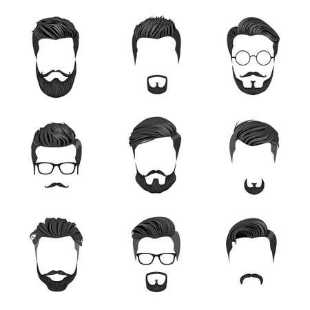 Cabello Hipster, Bigotes y Barbas. Ilustración de Vector de estilo hipster. Ilustración de vector