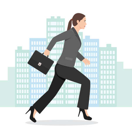 Illustration of a Business Woman Running with her Briefcase