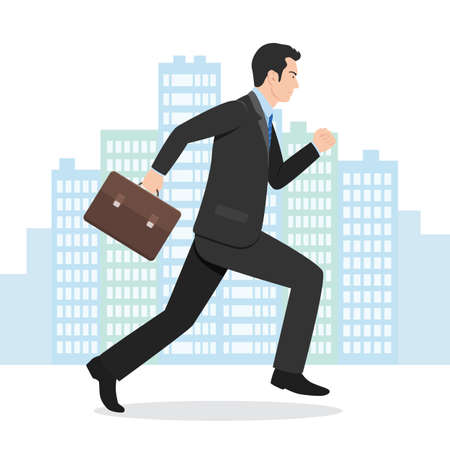 Illustration of a Businessman Running with his Briefcase