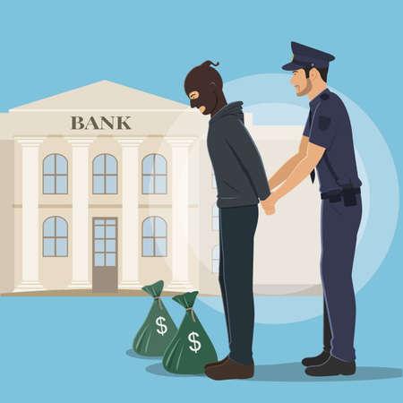 Illustrazione di un rapinatore con sacchi di denaro arrestato dalla polizia