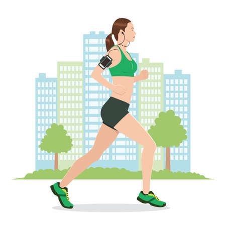Illustration of a Woman Running while Listening to Music