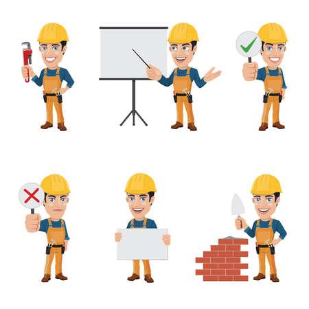 Set di caratteri di operaio edile in 6 diverse pose - vol. 2