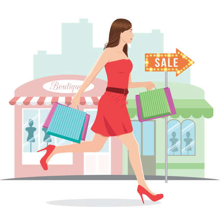 Woman Running with Shopping Bags