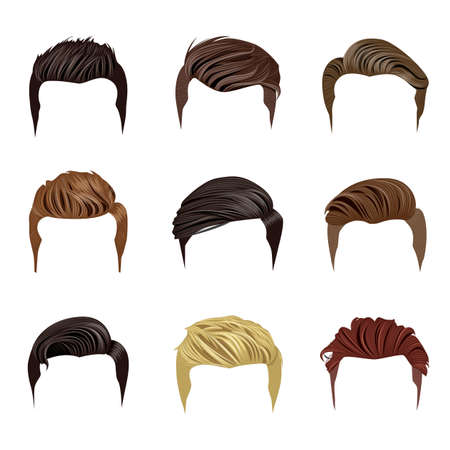 Set of Mens Hairstyles Иллюстрация