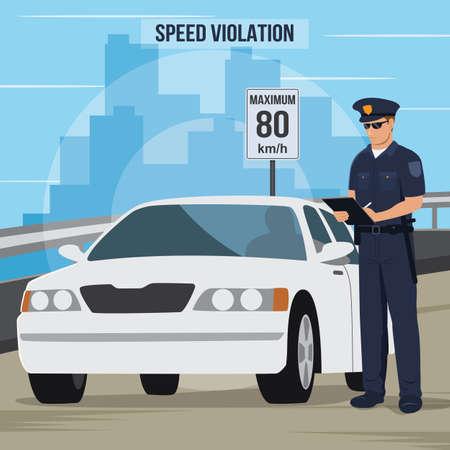 Infracción de tráfico de alta velocidad Ilustración de vector