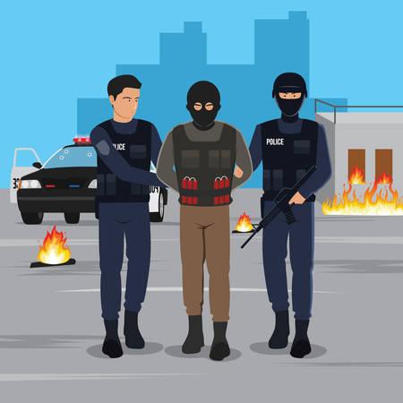 Illustration d'un terroriste arrêté par la police Vecteurs