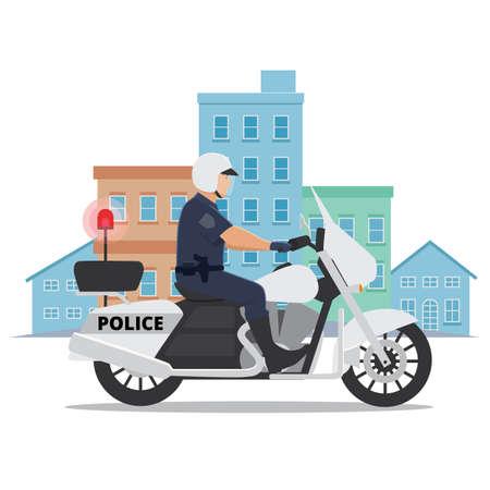 Police Officer Riding Motorcycle Illusztráció