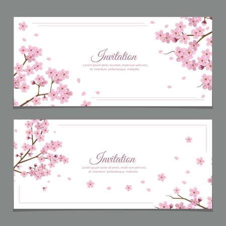Sakura Flowers Invitation Cards Vektoros illusztráció