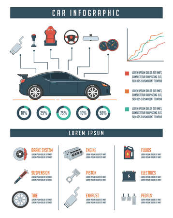 Car infographic template with car parts. Auto service and repair concept.