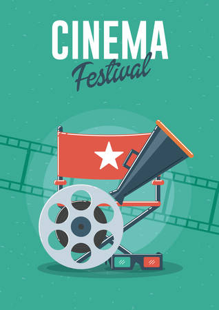 Cinema festival. Can be used for flyer, poster, banner, ad, and website background. Banque d'images - 123253194