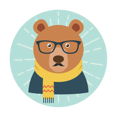Hipster bear with glasses, mustache and scarf