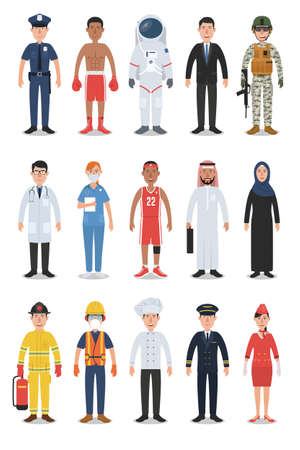 Set of Diverse Occupation and Profession People Characters