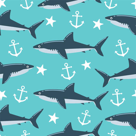Shark Seamless Pattern 矢量图像