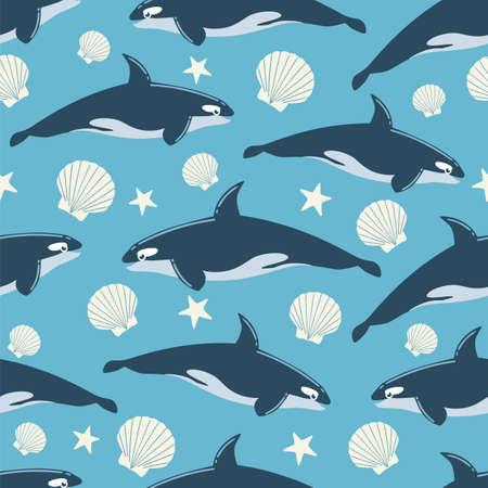 Whale Seamless Pattern Illustration