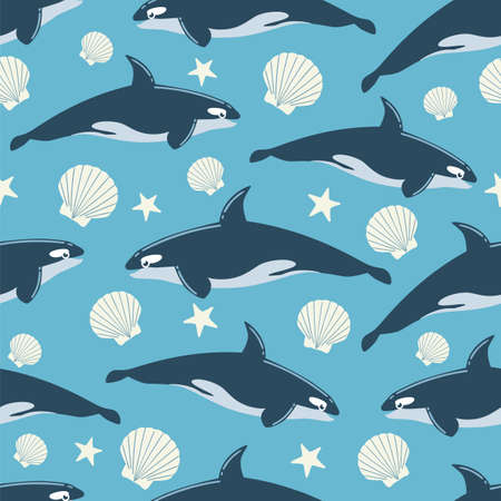 Whale Seamless Pattern Illustration