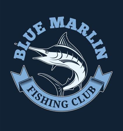 Club di pesca del marlin blu. Illustrazione per t-shirt e altri usi
