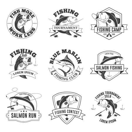 Set of Vintage Fishing Badges Vektoros illusztráció
