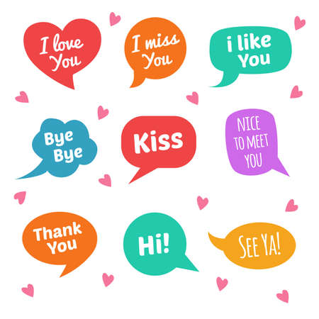 Speech bubbles with text. I love you, i miss you, kiss, i like you, etc Vettoriali